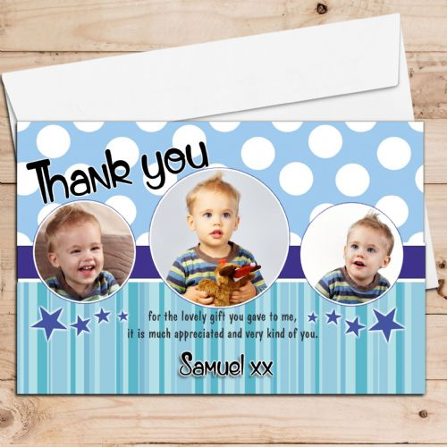 10 Personalised Boys Blue Spotty Birthday Thank you PHOTO Cards N52